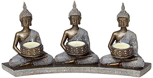 Kensington Hill Three Thai Buddhas 3-Tealight Candle Holder