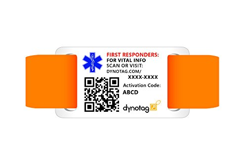 Dynotag Web/GPS Enabled QR Code Smart Military Style Medical and Emergency Contact Information w. Adjustable Wristband (6.1'-8.66' dia.)
