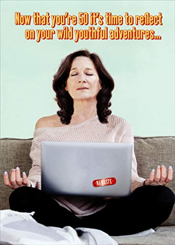 Meditating Woman with Laptop Oatmeal Studios Funny/Humorous 50th Birthday Card for Her