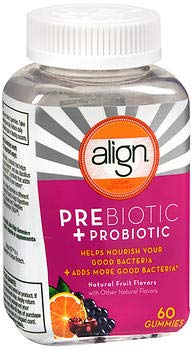 Align Prebiotic + Probiotic Gummies Natural Fruit Flavors - 60 CT, Pack of 3