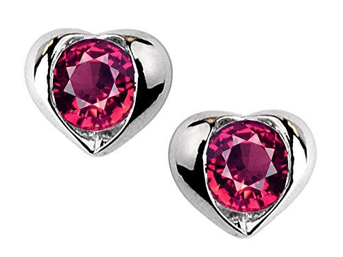 Star K Round 6mm Created Ruby Heart Earrings Sterling (Red Star Ruby)