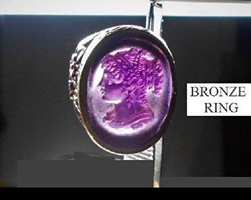 (Victorian Amethyst Glass CAMEO RING Antique Goddess Curly Hanging Tendrils, in Large Bronze Ring. 1910 Amethyst Cameo OOAK RING)