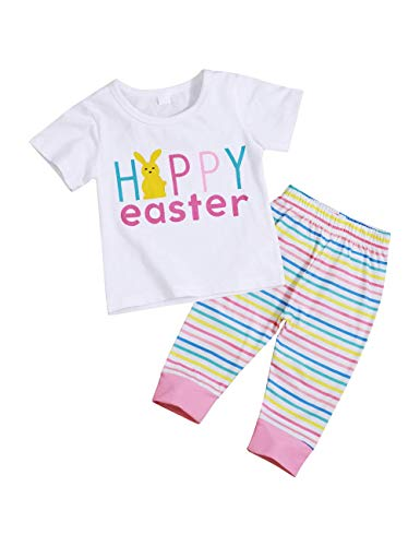 Baby Girl Easter Outfit Short Sleeve Happy Easter Cute Bunny Top + Stripe Pants Clothes Set 18-24Months ()
