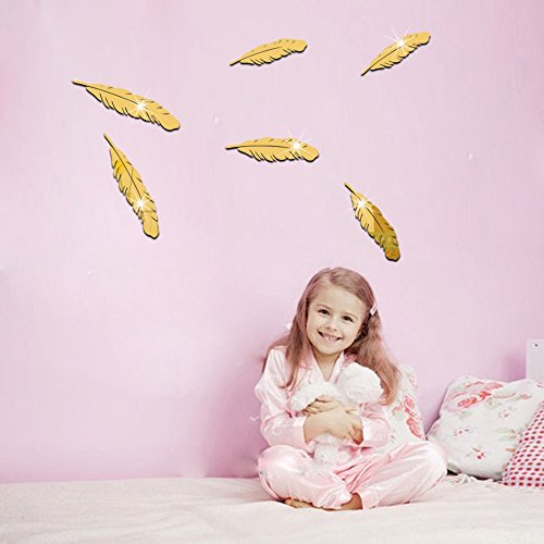 ufengke 6-pcs 3D Feather Mirror Effect Wall Stickers Fashion Design Art Decals Home Decoration Golden