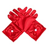 Lusiyu Girl Solid Child Size Wrist Length Formal Glove with Bow (Red)