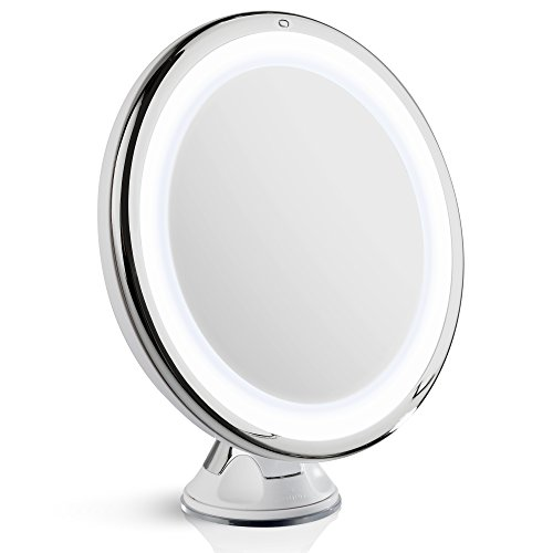 Fancii LED Lighted 8X Magnifying Makeup Mirror – Color Corrected, Dimmable Natural White Light, Locking Suction Cup, Cordless (Travel Lit Magnifying Mirror 5x)