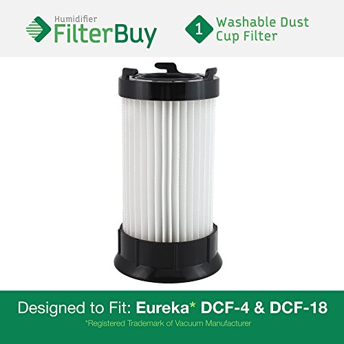 Eureka DCF-4 (DCF4) DCF-18 (DCF18) & GE DCF-1 (DCF1) Washable and Reusable Dust Cup Filter. Designed by FilterBuy to Replace Eureka Part # 62132. -