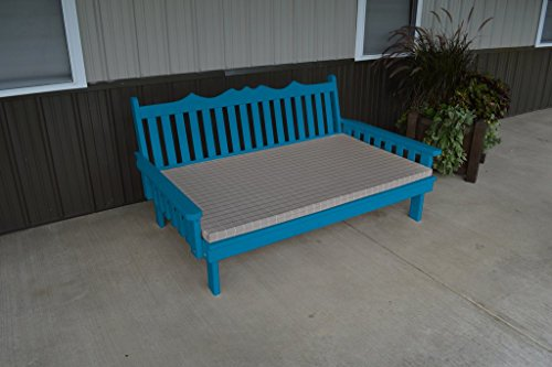 75 Inch Pine Indoor or Outdoor Royal English Daybed Amish Made- Caribbean Blue Paint (Amish Daybed)
