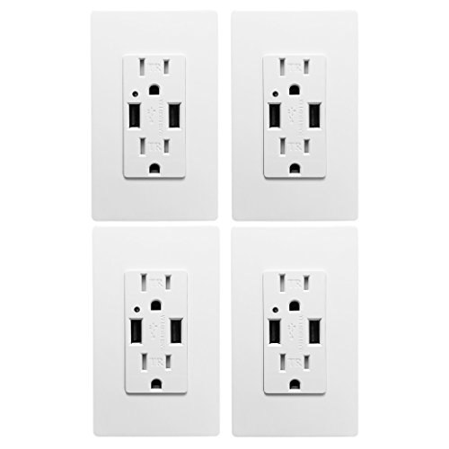 Outlet with USB High Speed Charger 4.2A Charging Capability, Child Proof Safety Duplex Receptacle 15 Amp, Tamper Resistant Wall socket plate Included UL Listed MICMI U24 (White 4.2A Charger (Proof Chargers)