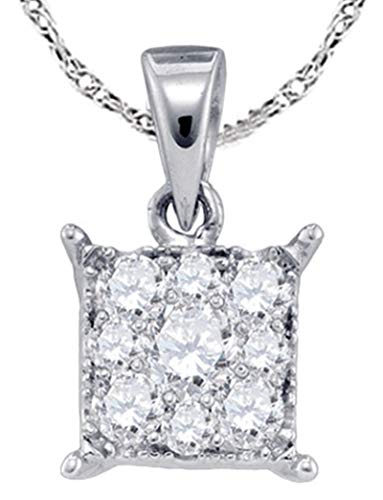 Aienid 14Kt White Gold 0.28ct Diamond Seville Pendant Necklace For Ladies ()