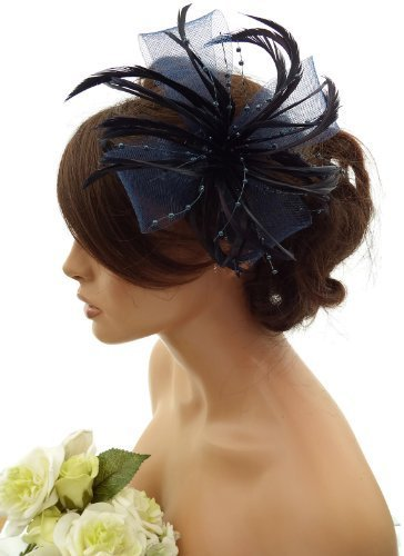 Corsage Stunning (Stunning Feather & Net Bow with pearlised beads Fascinator, hair Clip, Corsage (Navy blue) by Top Brand)