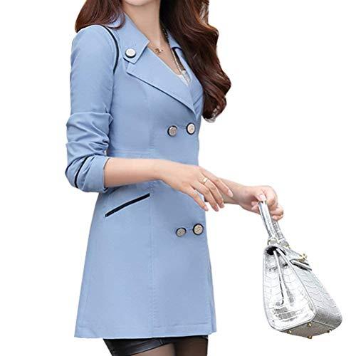 Automne À Femme Vintage Parka Blau boutonnage double Classique Vestes Mode Printemps AI6qwx8