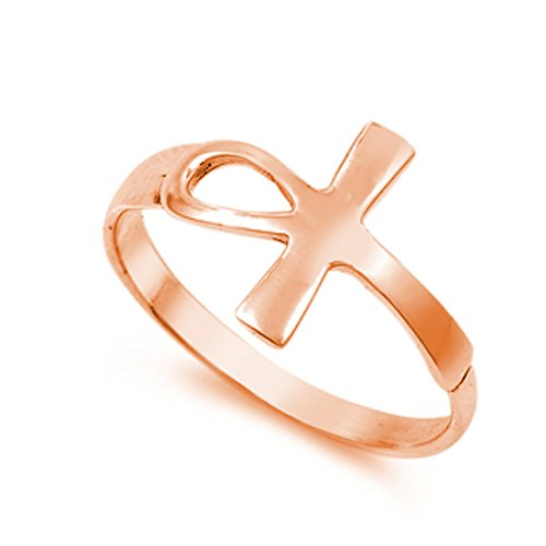 Petite Dainty Simple Plain Sideways Ankh Egyptian Ring Rose Tone Plated 925 Sterling - Ring Gold Ankh