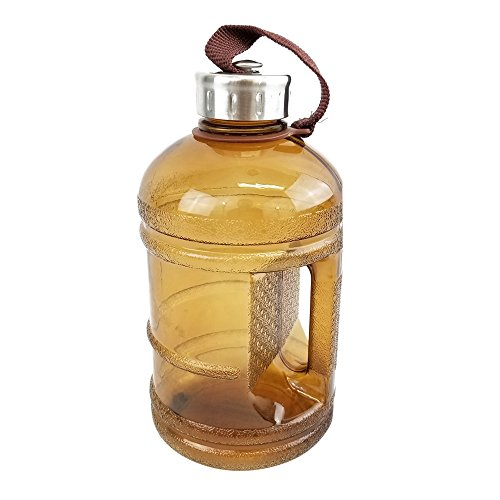 1/2 Gallon BPA FREE Reusable Plastic Drinking Water Bottle w/ Stainless Steel Cap - 64 oz. - Brown