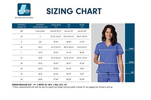 Adar Indulgence Jr. Fit Women's Scrub Set - Enhanced V-Neck Top/Multi Pocket Pants - 4400 - Ceil Blue - S by ADAR UNIFORMS (Image #4)