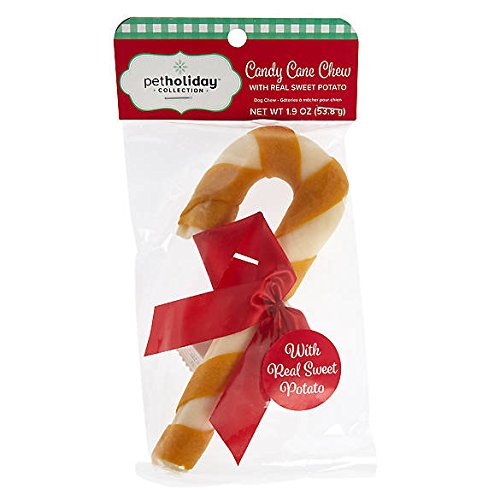 Small White Rawhide (Pet Holiday Candy Cane Chew Dog Treat - Sweet Potato - Small (6