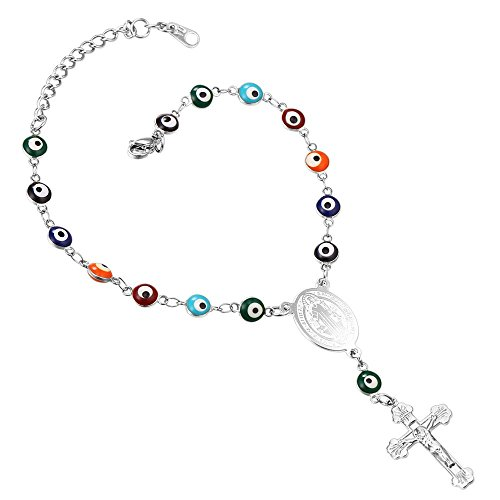 U7 Turkish Evil Eye Bracelet Stainless Steel Chain St Benedict Medal and Crucifix Cross Rosary Bracelet -