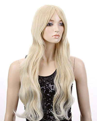 Cool2day 70cm Cosplay Long Natural Wave Blond Hair Women's Party Wig JF011580