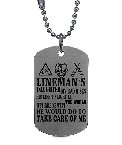 COLOSTORE My Dad Is A Lineman Necklaces, Lineman's Daughter Dog Tag (Dog Tag Necklaces - Silver)