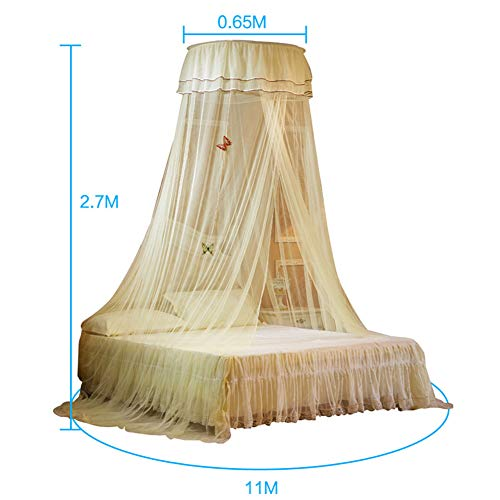 Princess Ceiling Mosquito Net Bed Canopy Easy Installation Dome Thickened Encryption Lace Side Net Tent Indoor Decorative,Yellow by LINLIN MOSQUITO NET (Image #1)