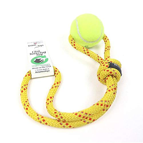 Shifting Gears - 1-Ball Toss & Tug Toy from Recycled Tennis Ball & Rock Climbing Rope