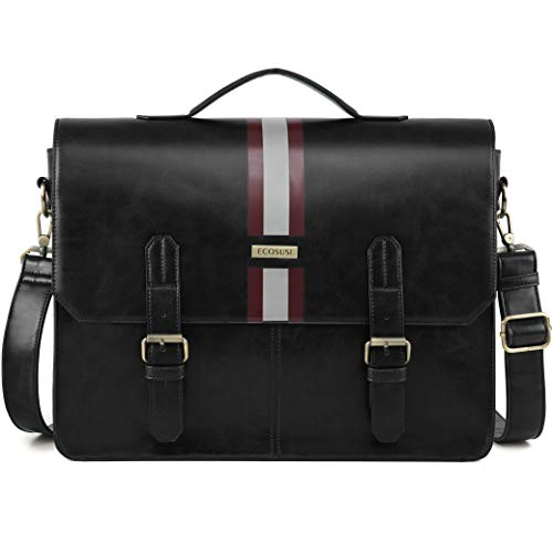 67434a3e91bf ECOSUSI Men s Briefcase PU Leather Shoulder Satchel Computer Bag with Back  Pocket fits 15.6 inch Laptop