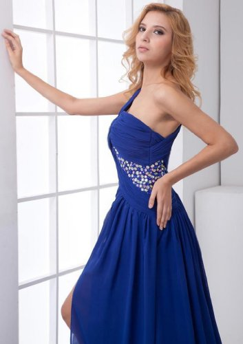 Court Blue Train One Dearta Royal Women's A Dresses Prom Line Shoulder Chiffon Sleeveless n7YU7