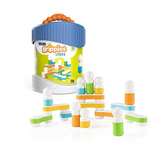 Guidecraft Grippies Links - 16 Piece Set, Stem Soft Grip Magnetic Building Toy for Toddlers