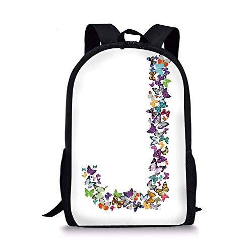 School Bags Letter J,Alphabet and Nature Tropical Biological Monarch Collection of Wings Typeset ABC Decorative,Multicolor for Boys&Girls Mens Sport ()
