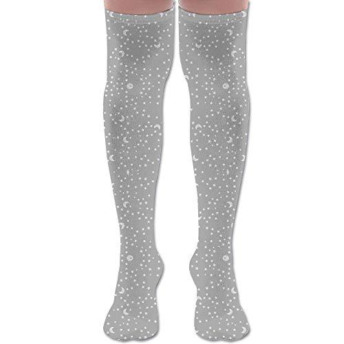 HFJDLSK Knee Long Socks Tube Thigh-High Sock Stockings - Baby Scribble Moon and Stars White On Grey Giftwra Print for Girls & Womens ()