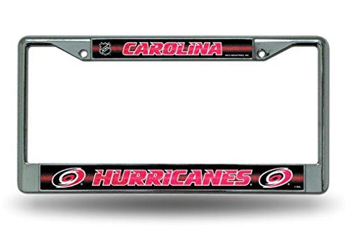 NHL Carolina Hurricanes Bling Chrome License Plate Frame with Glitter Accent