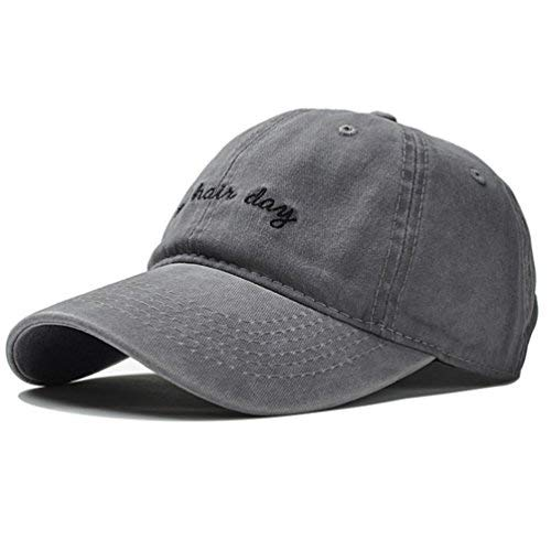 Vintage Embroidery Baseball Cap Hat - Washed Cotton Distressed Bad Hair Day Printed Dad Sport Hat Unisex Adjustable Strapback (Light Gray) Bad Day Womens T-shirt