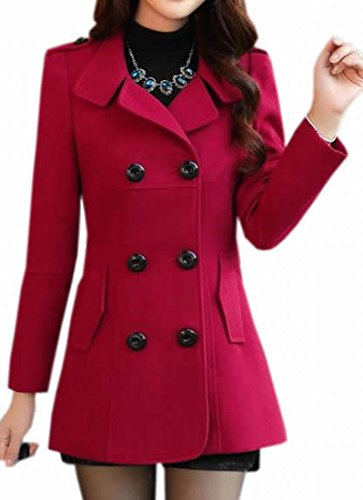 KXP Womens Casual Slim Double Breasted Lapel Solid Peacoats red - Red Womens Peacoat