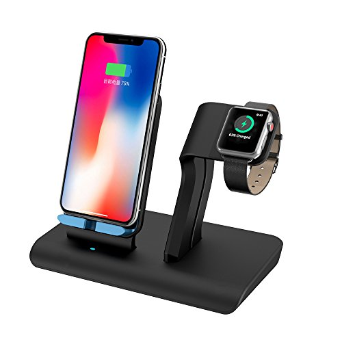 Apple Watch Stand charging docks & iPhone X Wireless Charger Stand for iPhone X/8/8 Plus,iwatch charger stand holder for Apple Watch Series 3,2,1 & Nike - Station Charger Stand