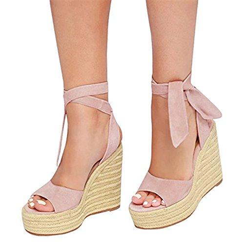 Shele Womens Tie Up Suede Peep Toe Espadrille Platform Wedges Sandals Classic Mid Heel Ankle Strap (Ankle Tie Espadrille)