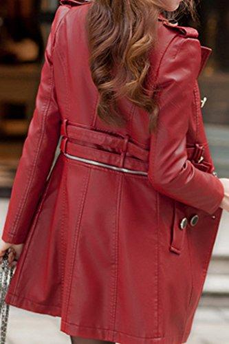 Helan Mujeres PU de la cremallera flexible Gabardina larga de piel Rojo