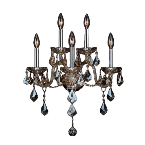 Worldwide Lighting Provence Collection 5 Light Chrome Finish and Golden Teak Crystal Wall Sconce 13