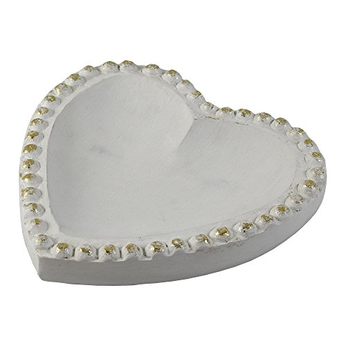 - Indian Heritage Embellished Heart Tray in Solid White/Gold Finish