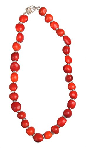 Peruvian Gift Necklace for Women - Huayruro Red Seeds Strand - Natural Handmade Ecofriendly Jewelry by Evelyn Brooks