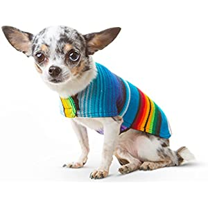 Baja Ponchos Dog Clothes - Handmade Dog Poncho - Cinco De Mayo Costume from Authentic Mexican Blanket by (No Fringe, XXS)