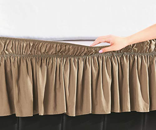 DE MOOCCI Three Fabric Sides Wrap Around Elastic Solid Bed Skirt, Easy On/Easy Off Dust Ruffled Bed Skirts 16 Inch Tailored Drop (Queen/King)