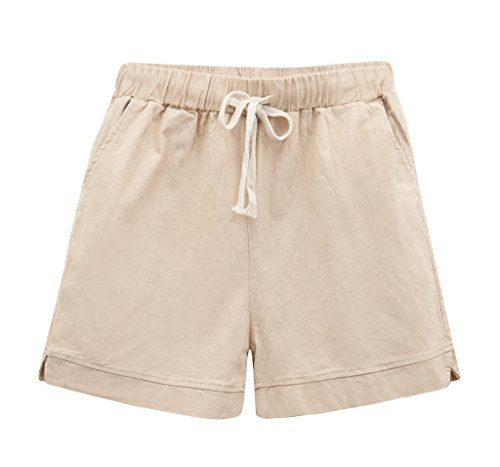 Yknktstc Womens Elastic Waist Cotton Linen Casual Beach Shorts with Drawstring US 4/6 (Cotton Linen Khakis)