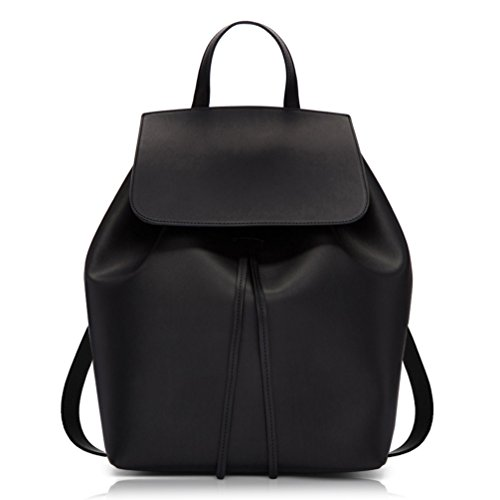 COCIFER Women's Leather Black Backpack Purse School Casual Daypack Top Tote Bags
