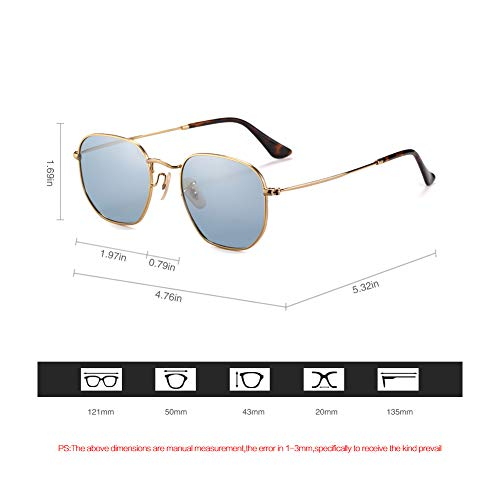 - 2020Ventiventi AK17033 Shiny Gold Frame/Clear Water Blue Mirror Lens Pentagon 50mm Polarized Stainless Steel Sunglasses