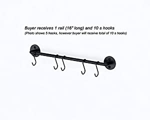 WALLNITURE Gourmet Kitchen Rail Rack Pot Pan Lid Organizer and 10 Hooks 16 Inch Black