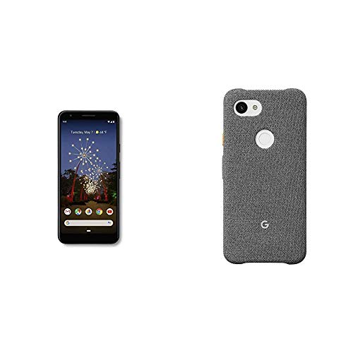 Google - Pixel 3a with 64GB Memory Cell Phone (Unlocked) - Just Black - G020G and Google Pixel 3a Case, Fog