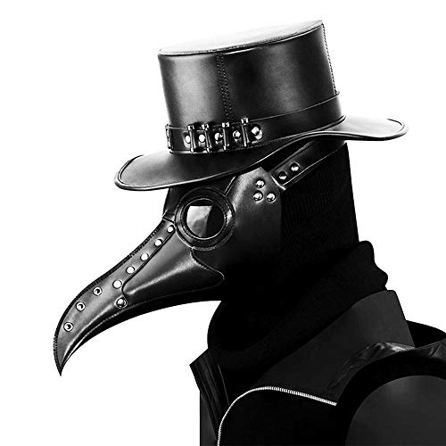 Pawaca Bird Beak Mask, Plague Doctor Bird Head Mask with Long Nose, Gothic Steampunk Leather Mask for Men and Women Adult, Costume Props for Masquerade Halloween Christmas and New Year (Black) ()