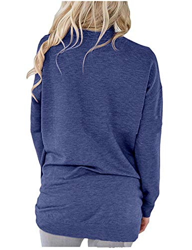 Femmes Shirts Printemps Tees Blouse Bleu Tops Sweat Longues Fonc Rond Automne Jumpers Casual Manches et Hauts JackenLOVE T Shirts Fashion Unie Pulls Couleur Col qtz4dwnx