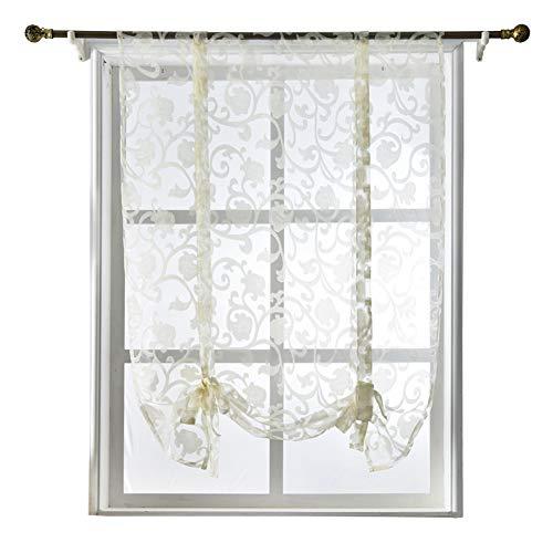 (NAPEARL Tie Up Kitchen Curtain Valance Rod Pocket Sheer (55