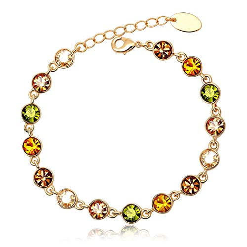 Juliani 18k-Gold-Plated Hypoallergenic Tennis Bracelet - Garnet/Topaz/Emerald 5 Carat Austrian Crystals | Jewelry for Women Kids | Girls Teens (Swarovski Garnet Austrian Crystal)